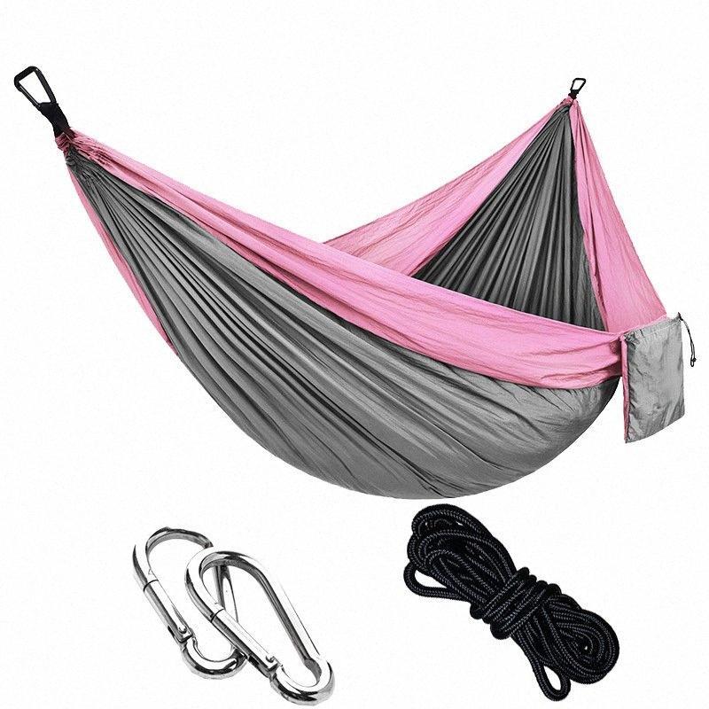 Дважды Гамак для взрослых Открытый Семейный отдых Backpacking путешествия Sleeping кровать Портативный С 2 Ремни 2 Карабин 1 сумка для хранения Палатки Nz HIr9 #