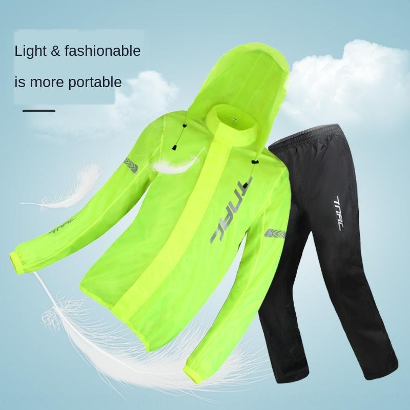 TEjyv H3xux spaccatura moto impermeabile e pioggia Moto impostato pantaloni tuta vestito degli uomini dei pantaloni e delle donne di equitazione Tuochi impermeabile elettrica riflettono