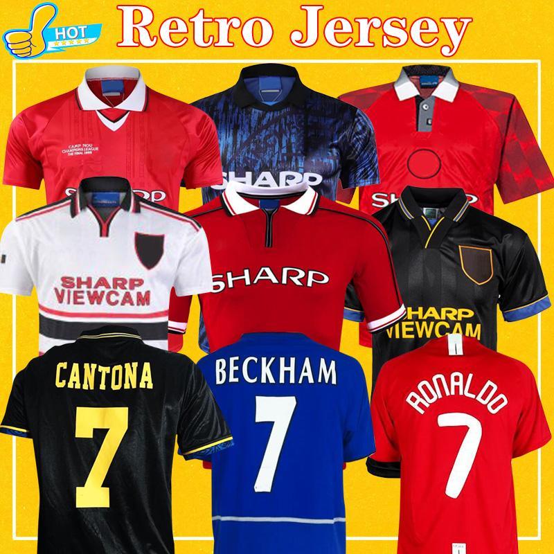 Manchester Retro Futbol Formalar adam 1992 1994 96 utd 00 01 07 08 united Retro Futbol Gömlek RONALDO BECKHAM ROBEON Cantona ROONEY Giggs