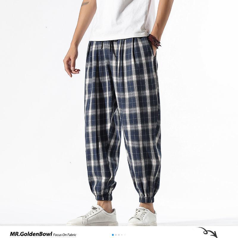MrGoldenBowl Erkek Ayak bileği uzunlukta Ekose Vintage Pantolon 2020 Man Pamuk Keten Çin Stil Gevşek Pantolon Erkek Oversize 5XL Bottoms T200728