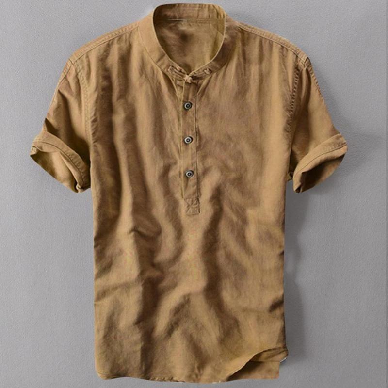 Erkek Casual Gömlek Erkek Gömlek Kısa Kollu Pamuk Keten Erkekler Gevşek Yaka Asılı Boyalı Degrade Chemise Homme Drop C