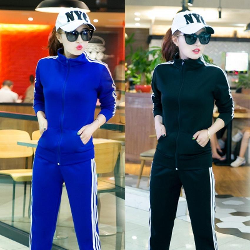 wpzLQ Primavera e Outono sportswear estudante de moda terno de duas peças das mulheres camisola listrada slim-fit manga comprida camisola ocasional