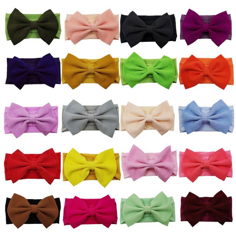 Moda Hecho a mano Soft Nylon Bowknots Headbands para niños Niñas Accesorios para el cabello Banda de cabeza