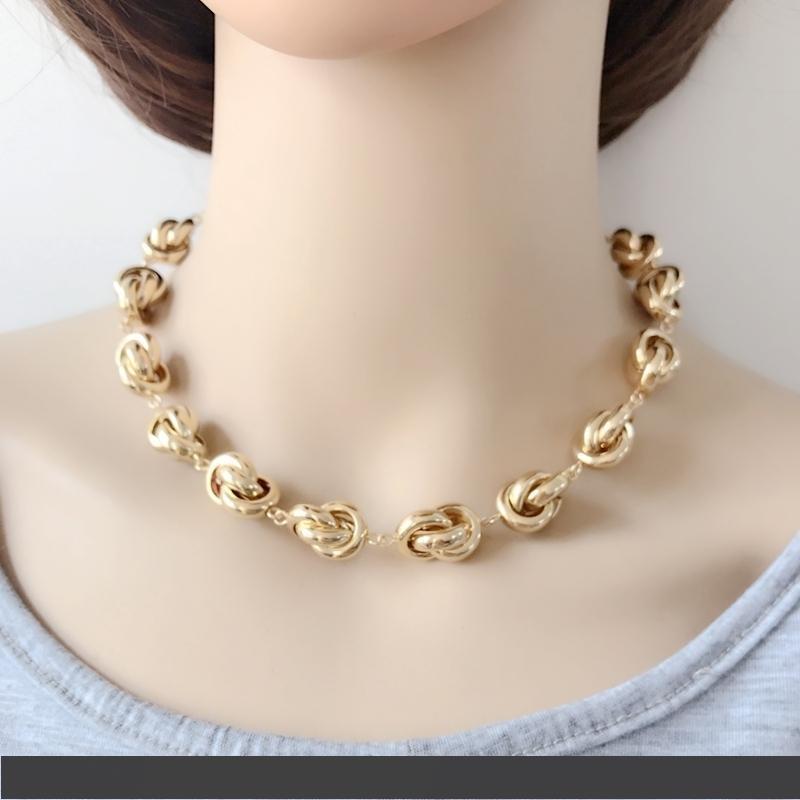 Livraison gratuite New Gold Knot Collier ras du cou