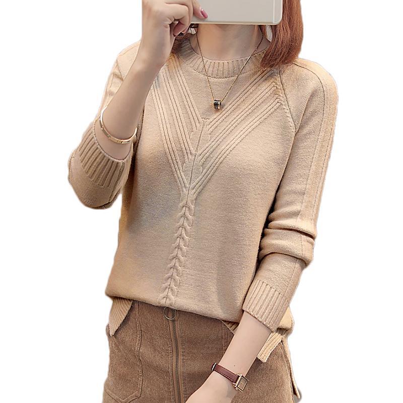 Las mujeres del invierno de la moda jersey de otoño más tamaño suéteres O-cuello de los géneros de punto se desata punto jersey delgado ocasional de la Parte Superior Femenina Y200720