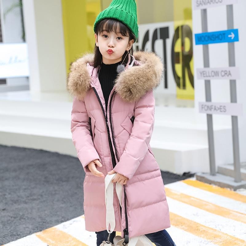 2019 Winter-Kleidung der neuen Kinder dick L Mädchen langer Mantel in den großen Baby Pelzkragen Daunenjacke Daunenjacke