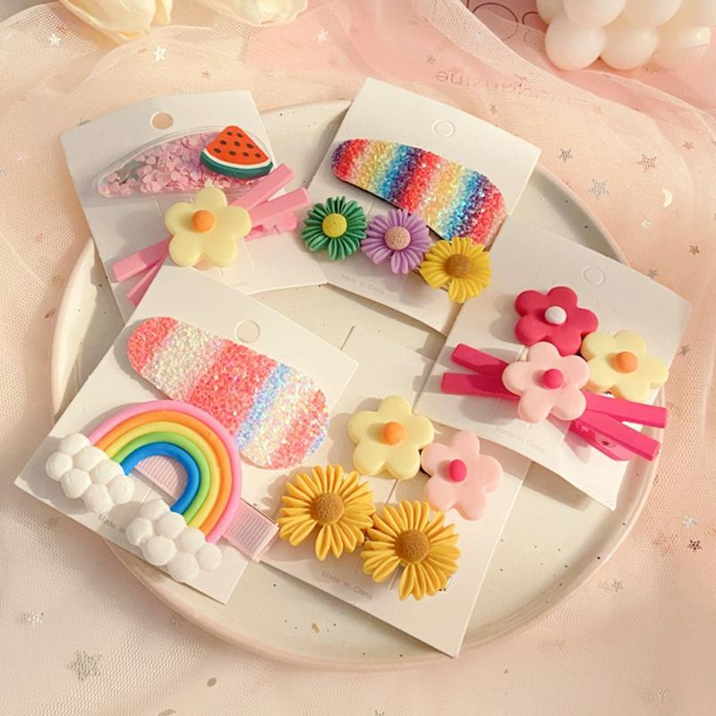Princesse mignonne arc-en-Fleurs pastèque enfants BB clip Hairpin bébé cheveux clip Girl Child Coiffe Accessoires