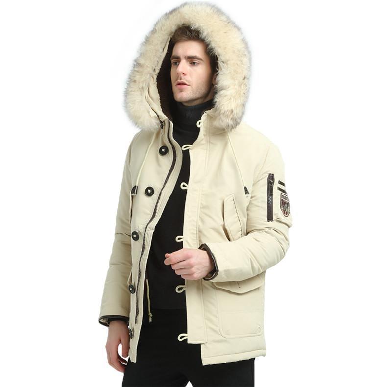 Kış Kalın Erkekler için Sıcak Moda Aşağı Ceket Gençlik Sıcak Coat Haki Kara M-3XL Keep Erkekler Rasgele Aşağı Ceket Yüksek Kalite Kürk Kapşonlu Isınma