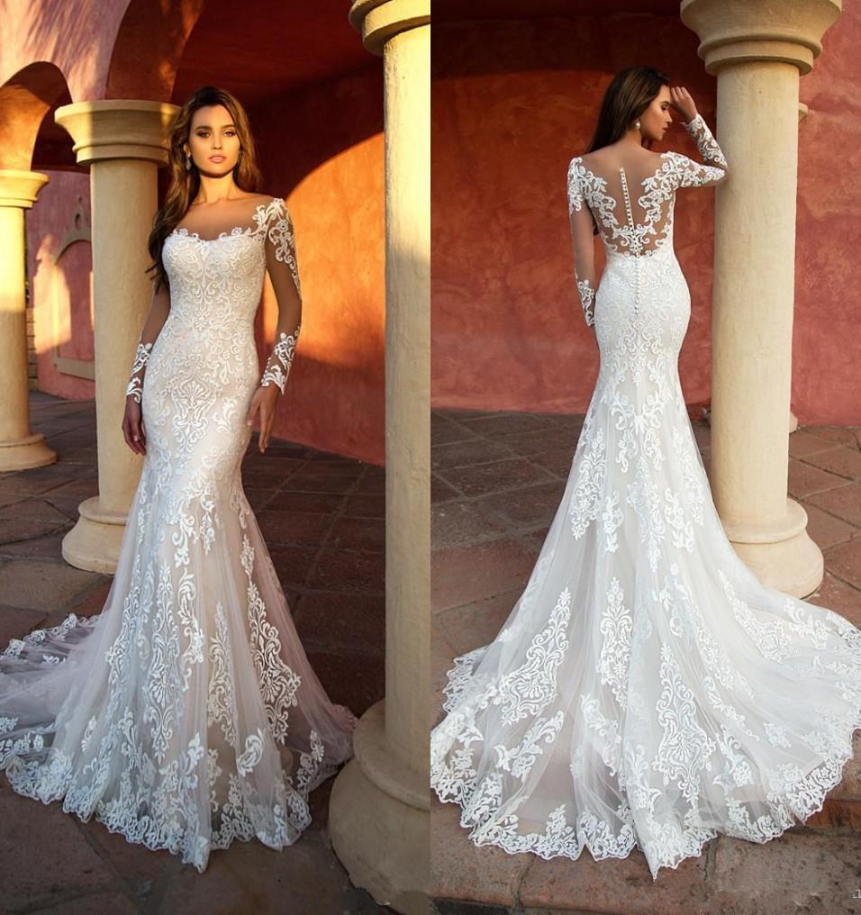 Sexy nuovi abiti da sposa sirena elegante manica lunga Appliqued merletto con Tulle Sposa Abito Illusion abiti di cerimonia robe de mariée