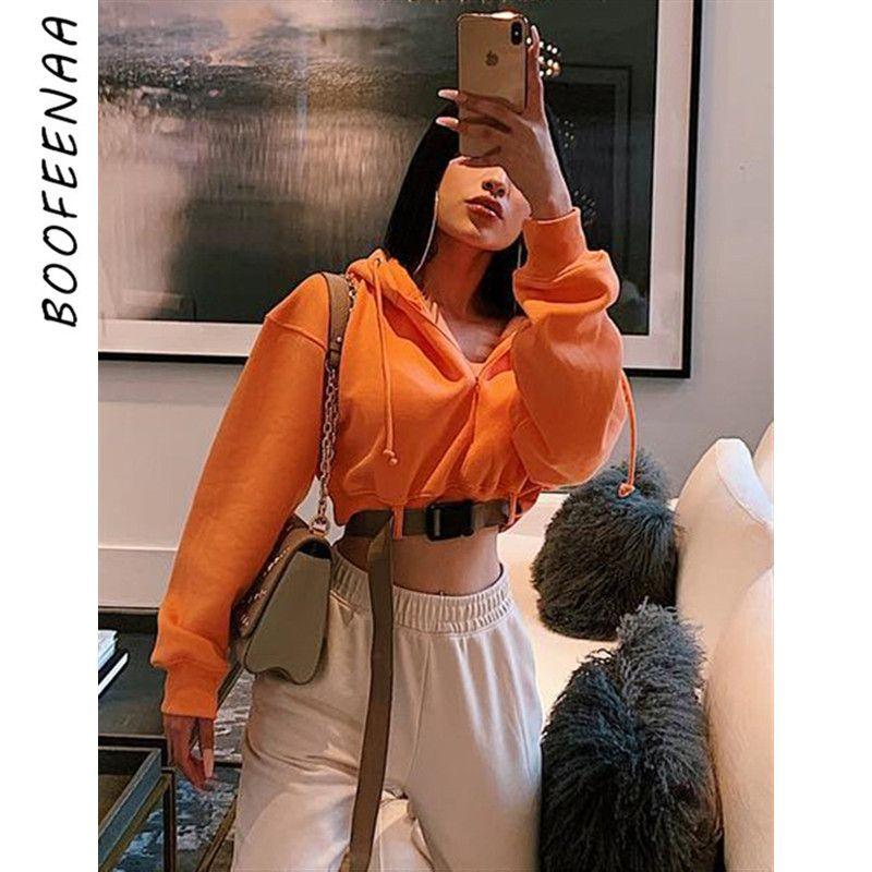 BOOFEENAA Neon Laranja cortada moletom com Mulher Moda fivela de cinto Streetwear Inverno Moletons Outono 2019 C70-AF47 T200722