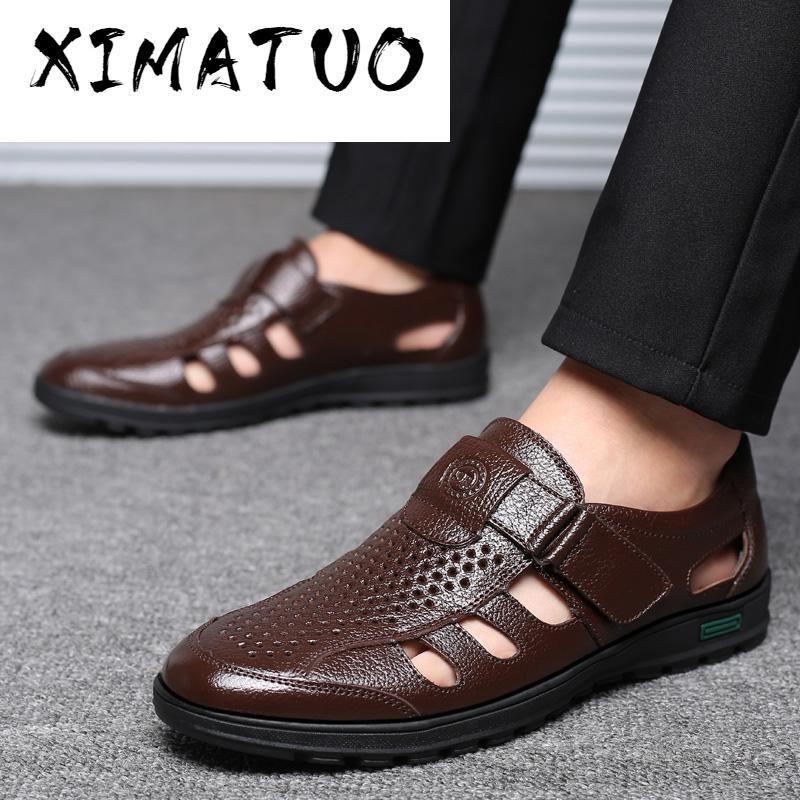 Siyah Elbise İçin 2020 Yaz Olgun Erkekler Sandalet Deri Sandalet Erkek Deri Sandalias Büyük Beden 38-48 Ayakkabılar