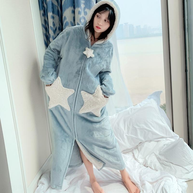 mNajL ew7Mm Autumn and Winter cute big star flannel nightgown ladies clothes home size coral fleece couple pajamas pajamas large extended hom