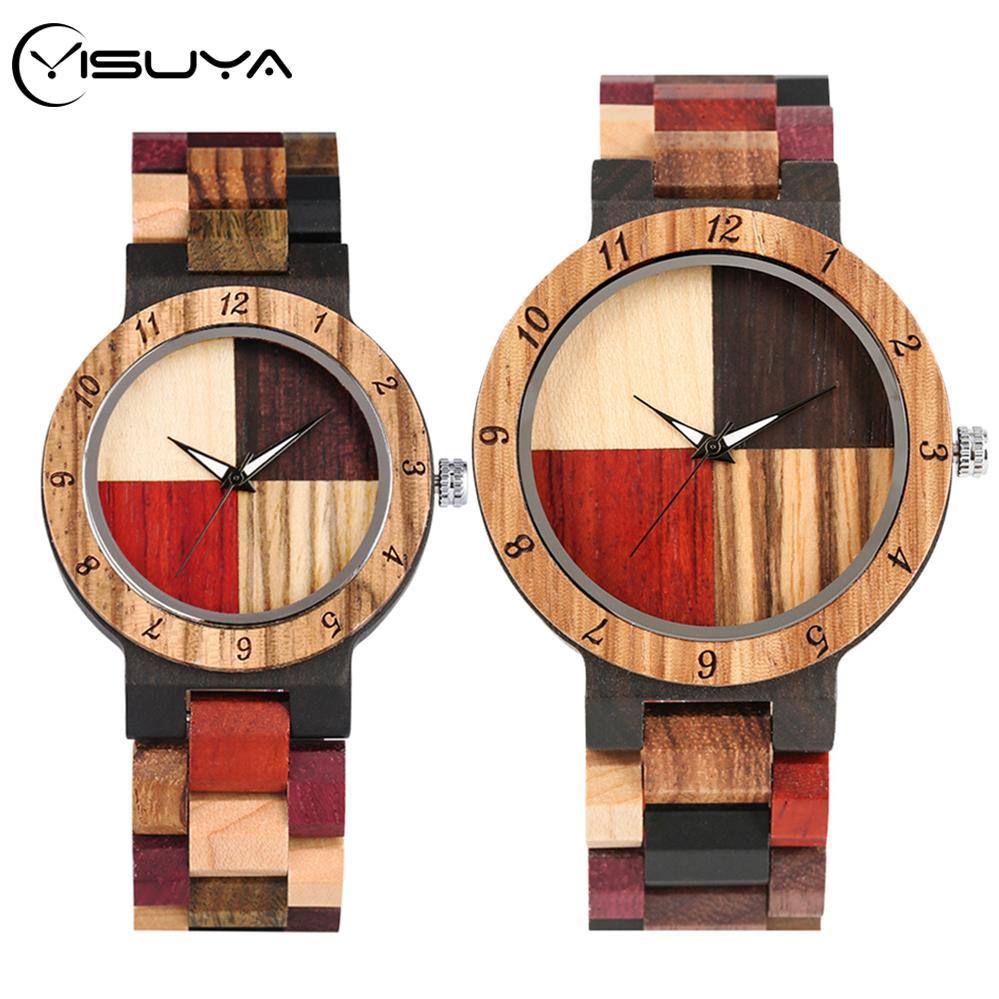 남성 여성 CX200720에 대한 YISUYA 남성 혼합 컬러 스티칭 크로스 나무 시계 나무 시계 석영 손목 시계 조절 밴드 연인의 선물