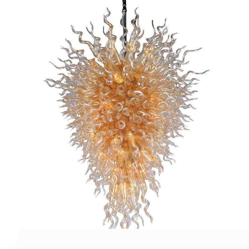 Amber tavan lambaları el yapımı şişmiş renkli cam avizeler el sanatları asılı ışıklar büyük çiçek kolye lamba