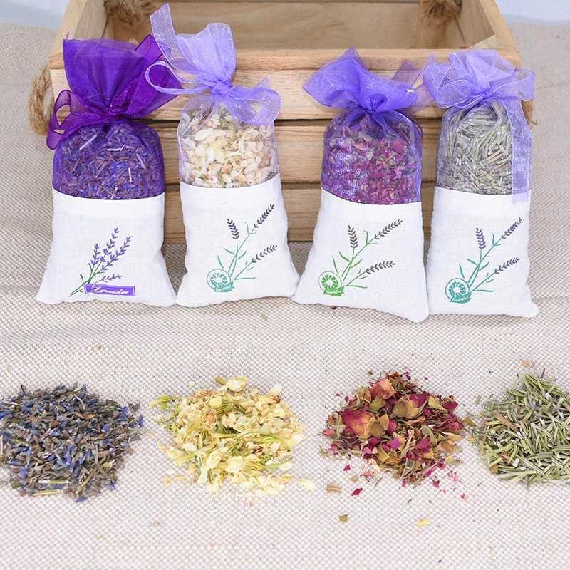 13 * 6.5cm naturel de fleurs séchées lavande Sachet doux parfumé Rose Jasmin Rosemary Fleur Sacs Filles Cadeaux Accueil Artisanat assainisseur B53k #