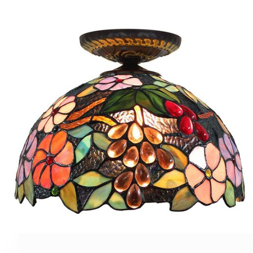 램프 매달려 12 인치 패션 티파니 포도 꽃 천장 펜던트 전등 스테인드 글라스 침실 거실 천장