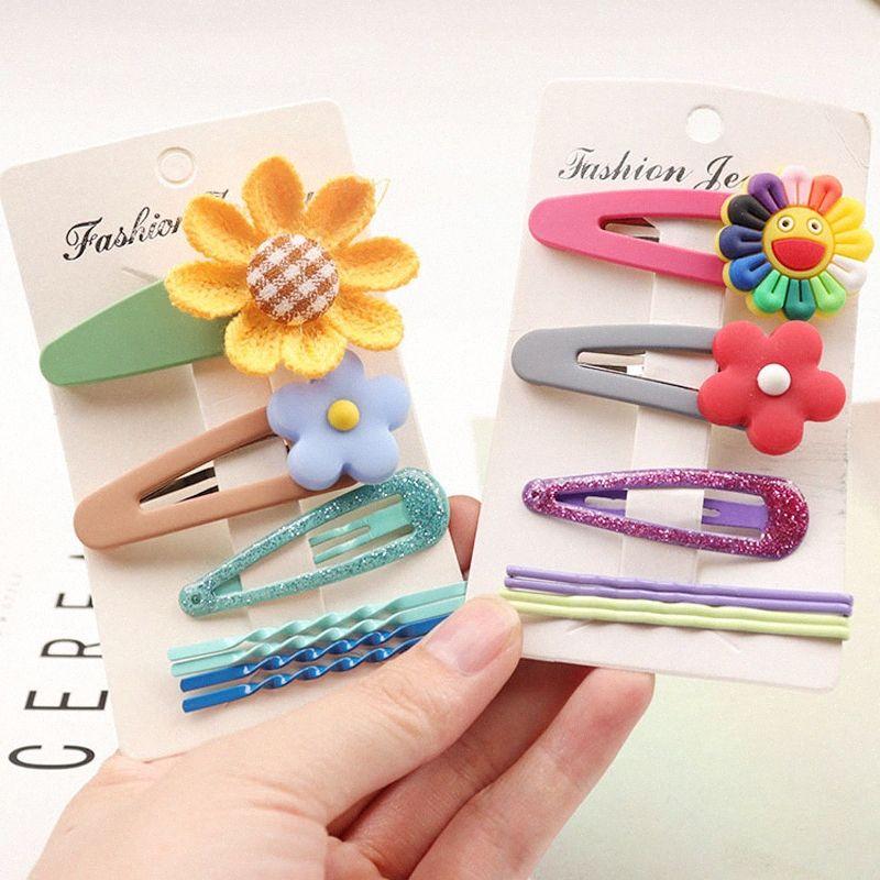 4pc / set mignon enfants bonbons couleur BB Clip Bangs Clip Sun fleur douce Poterie Fleur Barette pour fille Accessoires cheveux # LTFS