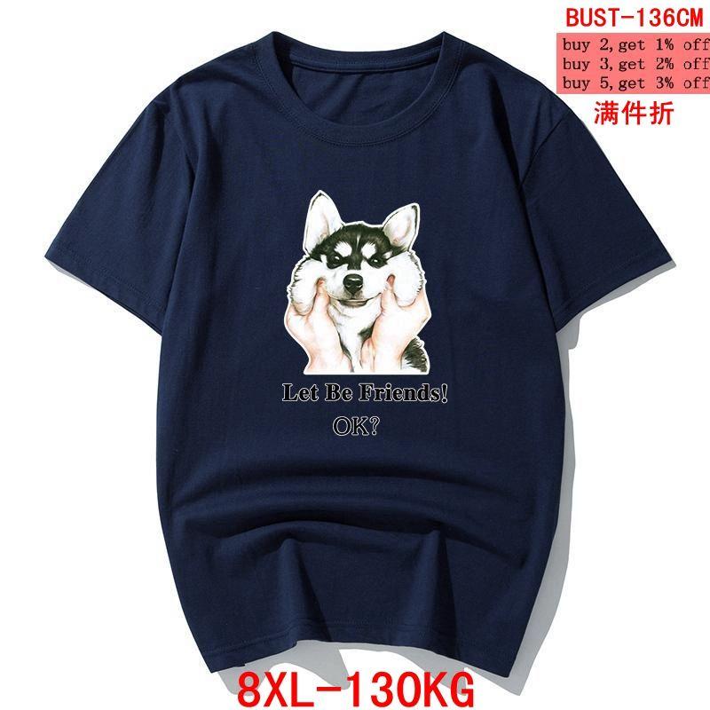 Männer Sommer-lustige T-Shirt Husky-Hund Inspiration Groß Größe 6XL 7XL 8XL Short Sleeve Hipster Tier Kreative tShirt Blau