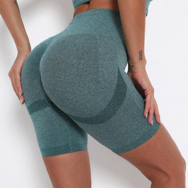 Yoga Workout Short taille haute transparente Athletic Gym Femme Sport Shorts Compression Fitness Collants rayés 2020 DzVi #