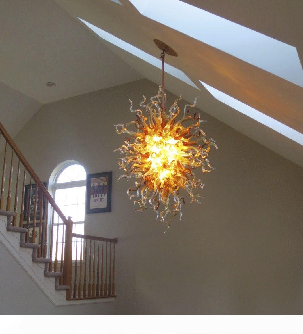 현대 대형 고품질 크리스탈 앰버 샹들리에는 100 % 손 불어 유리 샹들리에 LED 무라노 유리 샹들리에