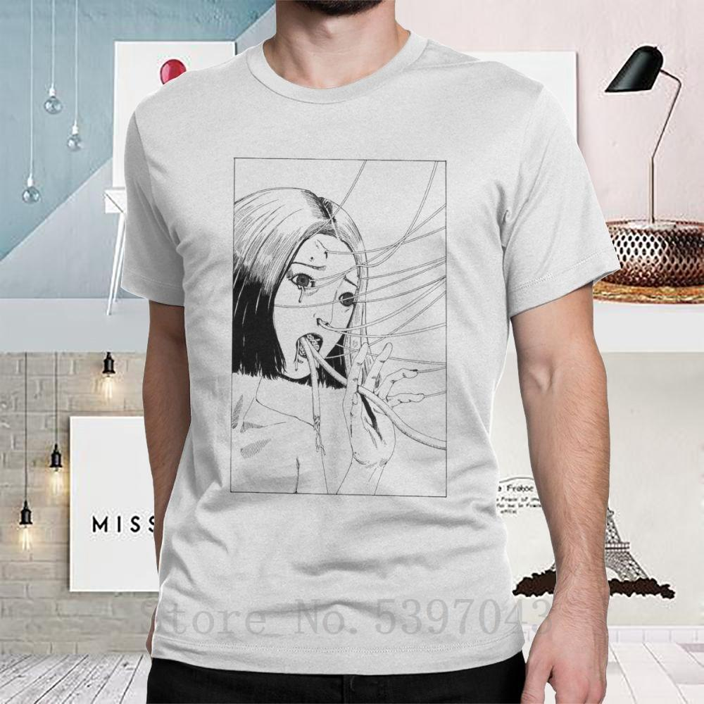 T-shirts de l'homme Halloween Horror Ho Junji Ito Connection style Vintage manches courtes T-shirt en coton blanc Vêtements T-shirts