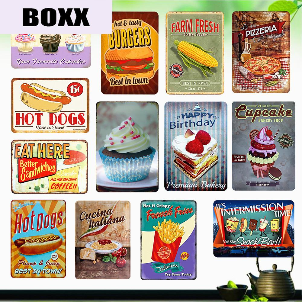 17 Delicious Food /Hot Dogs /Hamburgers Plaque Metal Vintage Home Decor  Popcorn Donuts Bakery Decoration Art Wall Stickers From Highqualityok17,