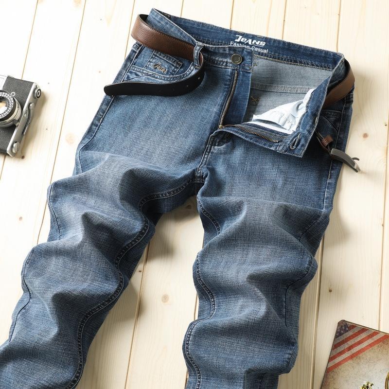 snSTg 202020 primavera y verano pantalones de los pantalones vaqueros grises sueltos pantalones vaqueros del estiramiento de los hombres de negocios pantalones casuales de los hombres jóvenes rectas