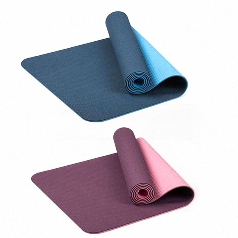 2x 6 мм Tpe двухцветного Non-Slip Мат для йоги Спорт Мат 183x61cm тренажерном зале Главная Фитнес безвкусный синий фиолетовый c92w #