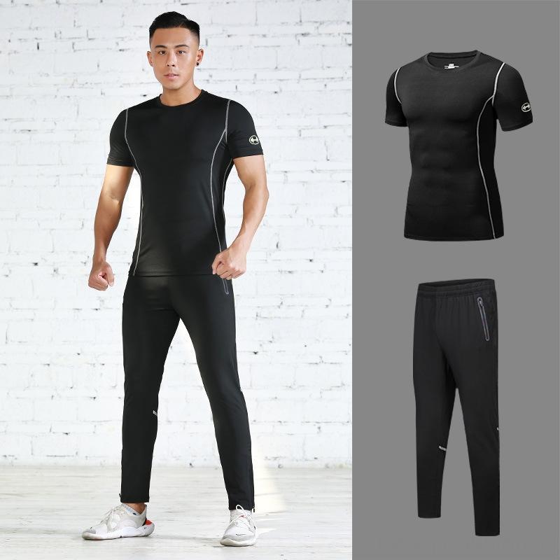 uyhdv corrientes de los deportes se adaptan a la ropa de deportes de la aptitud de manga corta de verano pantalones de secado rápido de ropa deportiva de los hombres respirable fina de ocio dos