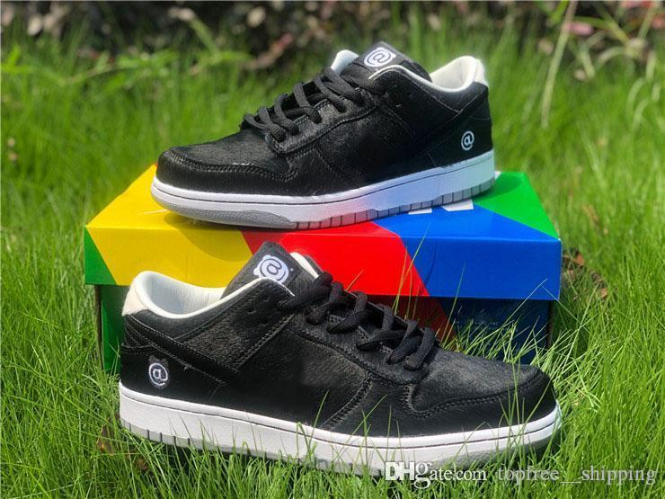 Лучший Медик игрушка х SB Dunk Low BE @ RBRICK Скейт обувь Черный парус волосатая Верхние кроссовки Мужчины Спорт Кроссовки с коробкой
