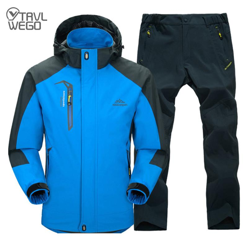 TRVLWEGO Spring And Autumn Outdoor Single Hiking Camping Jacket Pants Men's Suit Windbreak Travel Coat Trousers 5XL