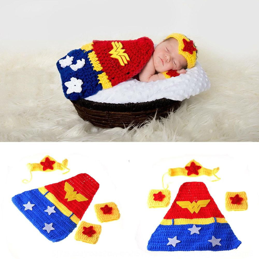 RVlCG Children's hand hook wonder woman knitted Cloak clothing Prop costume photography cloak Justice Alliance handmade wool photography cos