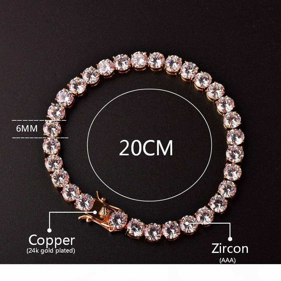 G 3mm 4mm Herren Zirkonia Tennis Armband-Ketten-Hip Hop Schmuck 1 Row Goldfarbe Cz Armband-Verbindungs-Designer Armbänder Geburtstagsgeschenk