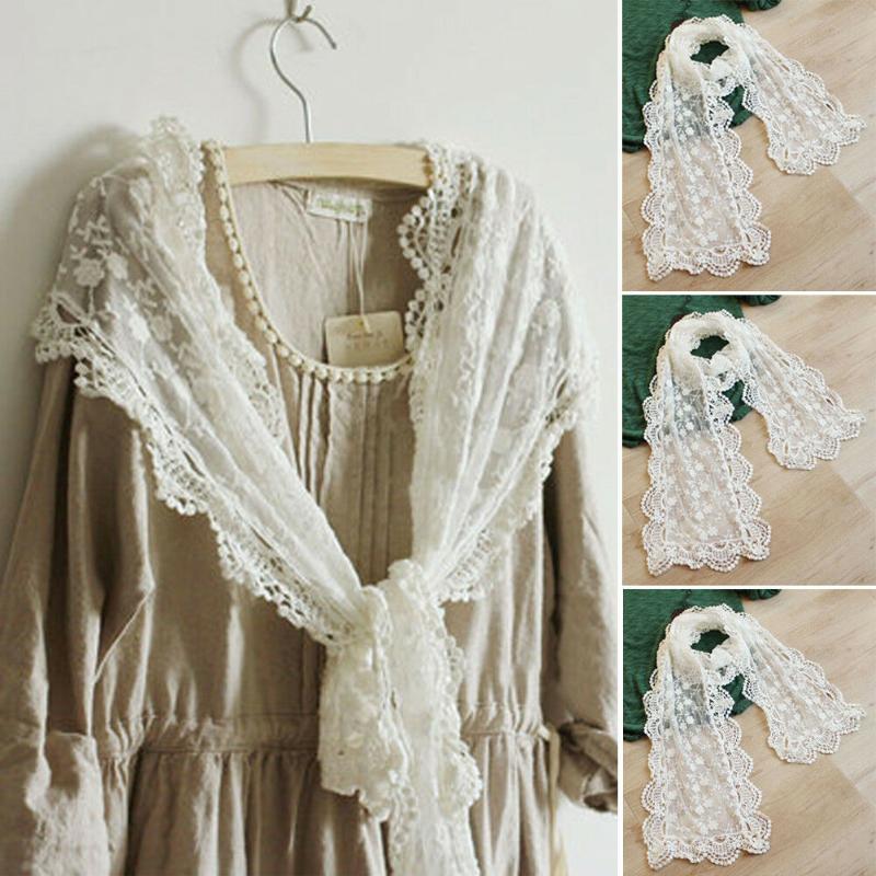 2020 sıcak satış katı dantel beyaz Kadın Lady Uzun Eşarp Nakış Çiçek Crochet Mesh Dantel Trim Şal Moda örgü