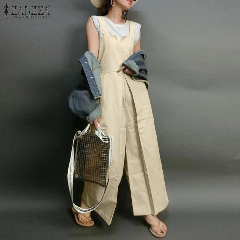 Stilvolle ZANZEA Frauen-breites Bein-Overall-Sommer-Gesamt Weibliches elegantes Arbeit PlaysuitsCasual Fest Strampler Strapse Plus Size