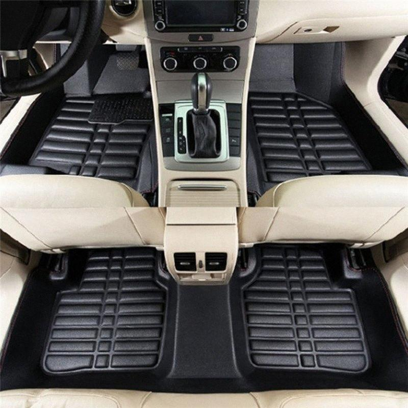 5Pcs Universal Car Floor Mats Auto Anti-Slip Mat Black Car Styling Interior Auto Floor Mats All Weather Mat cfaG#