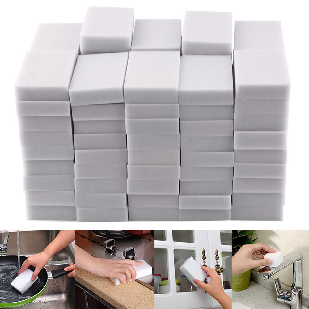 100Pcs Magia Bianca dell'eraser della spugna di pulizia della melammina Foam Cleaner Cucina Pad Accessori Cucina melamina Spugna per lavaggio