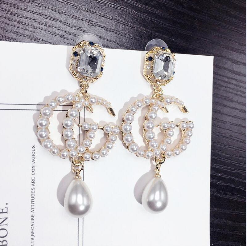 2020 Berühmte Designer Ohrringe mit Kristallperlen Big Lange Ohrringe Schmuck für Frauen Rot Grün Weiß Gelb Bunte Stein Geschenk