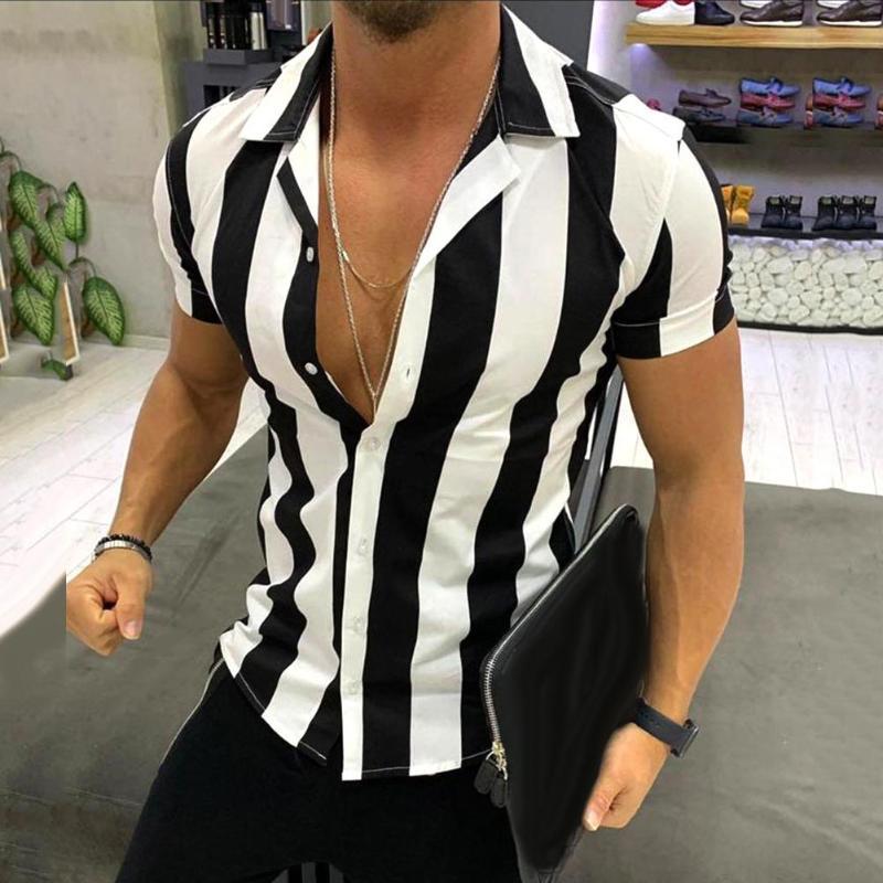 2020 Hot casual da uomo di gira giù pulsante manica corta bande verticali camicia sottile casuale superiore Camicetta Uomini