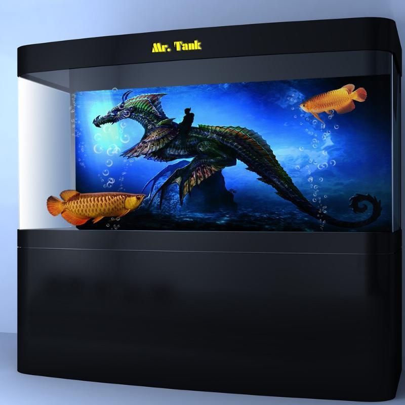 Customized Aquarium background poster con autoadesivo Dragon Knight creativo PVC Wallpaper Fish Tank Ornamento 24 30 48 72