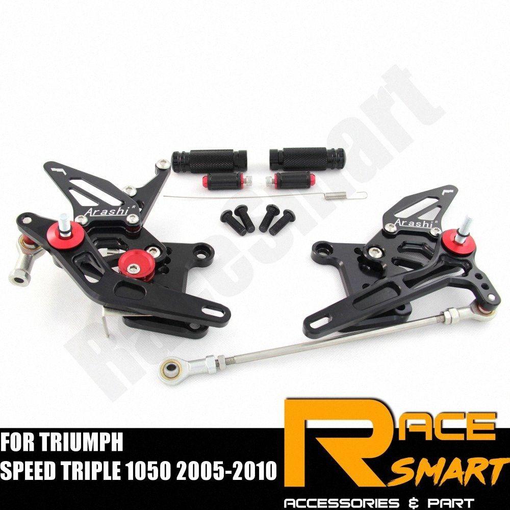 FOR SPEED TRIPLE 1050 2005 - 2010 Задние Подножки для ног колышки педали для мотоциклов CNC регулируемый Rearset sEOf #