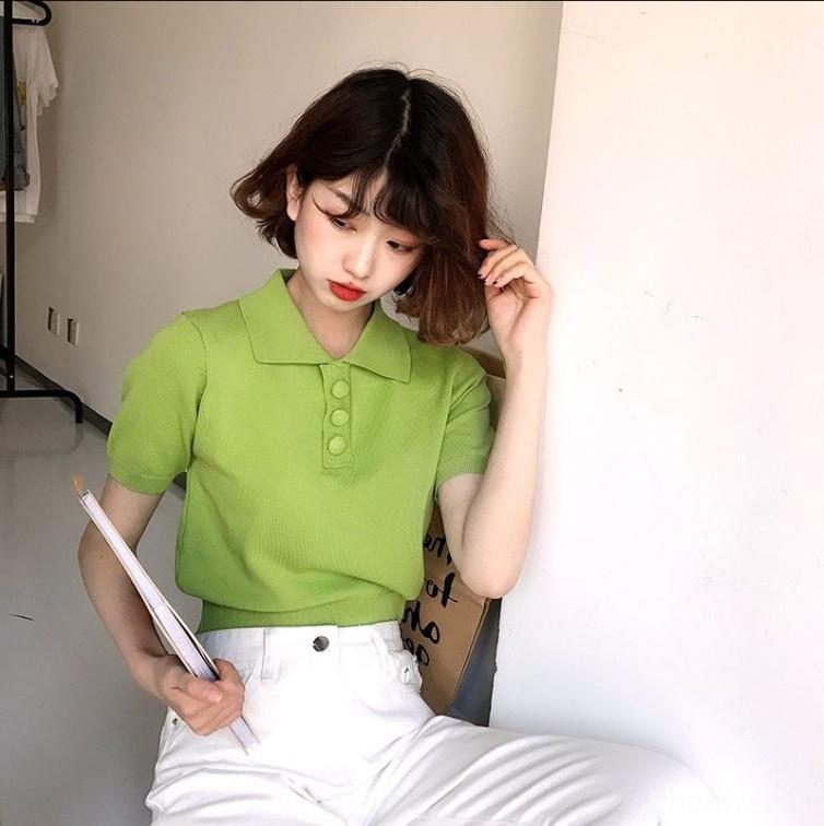 Nueva -colored elegante Polo Top dulces de caramelo cuello de un solo pecho de punto que basa la camisa del todo-fósforo superior al estilo coreano