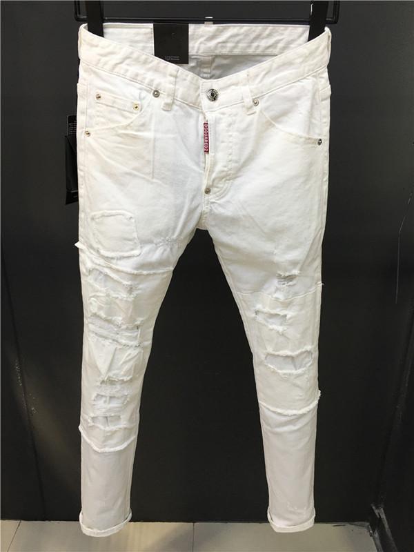 2020 Mens recta ocasional de los pantalones vaqueros para hombre del diseñador del diseñador de moda retro flaca delgada jeans de moda rasgado de los hombres de Hip Hop Vaqueros agradable a la piel