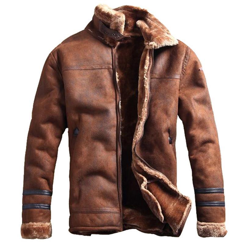 Homens Overcoat StreeWear Mens pele do falso couro Casacos estilo do russo Mens Inverno Fur Faux Fur casacos grossos Velvet CX200804 Brasão
