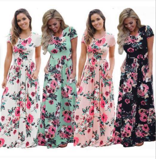 Été Designer Dressess femmes imprimé floral robe à manches courtes Boho SOIRÉE Robe longue Maxi Dress Fashion Vêtements 5 couleurs Sundress
