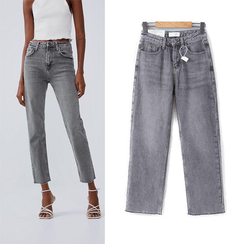 Джинсы Mujer 2020 Новая мода высокой талии джинсы карманные высокого Упругие Карандаш плюс размер Denim Длинные брюки Casual основной серый