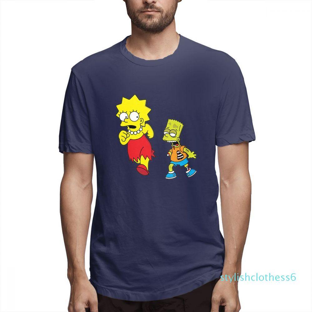 Дизайнер рубашки Симпсоны моды женские Рубашки мужские с коротким рукавом рубашки Симпсоны Printed футболки Причинная Graphic Tee c4404s06