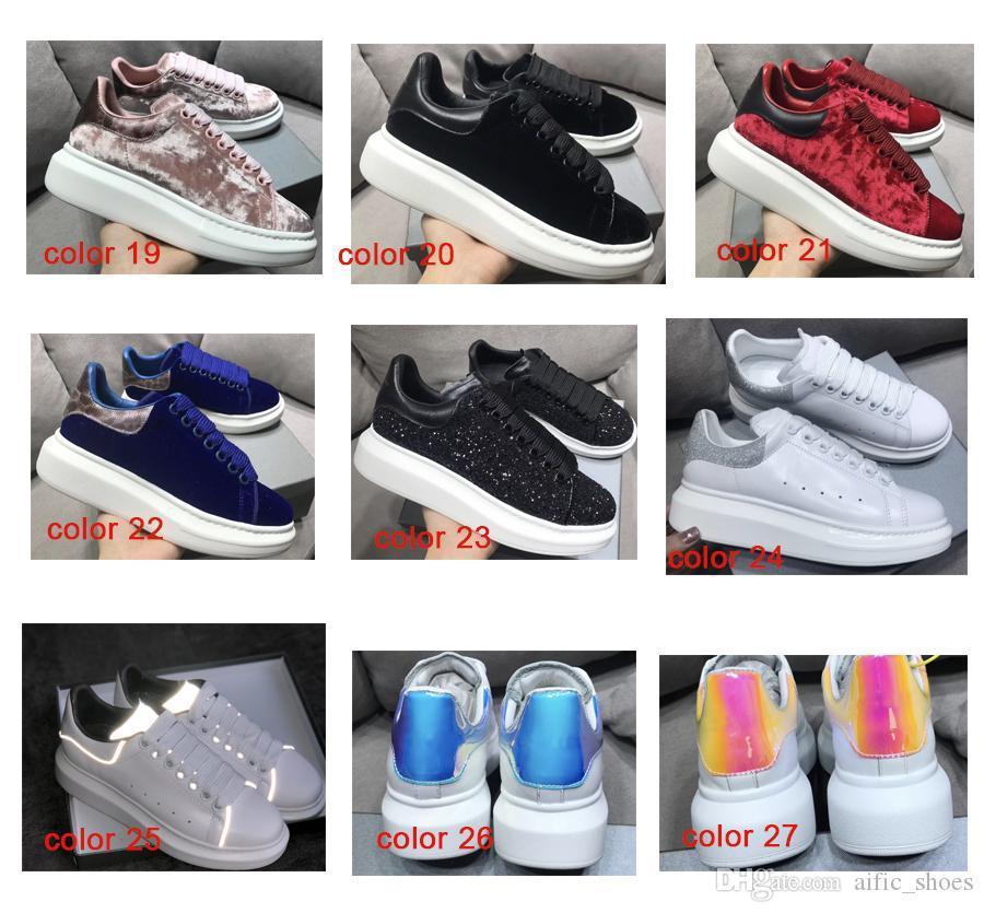 NOVO das mulheres dos homens reflexiva 3M Branco Plataforma Sneakers 100% real Couro Suede Levantado únicos Low Top Trainers planas sapatos de grife Casual