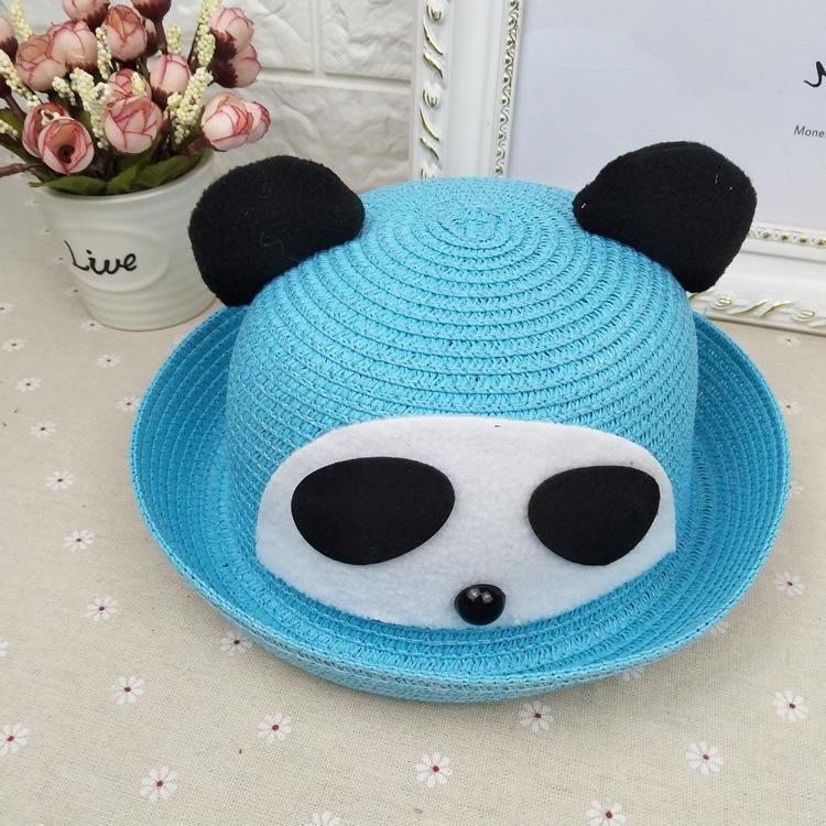 palha sol sol panda do coreano Crianças protetor solar de viagem ao ar livre sombreamento animal cartoon chapéu bonito maré chapéu do verão