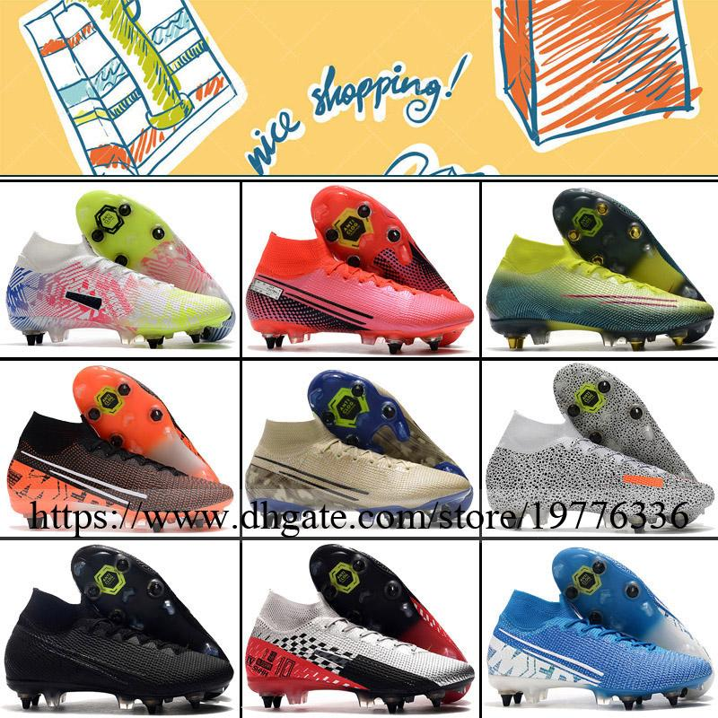 Mercurial Superfly VII SG Mens Spikes Football Cleats Soccer Boots High Ankle Cristiano Ronaldo CR7 Neymar JR Trainers Socks Football Shoes